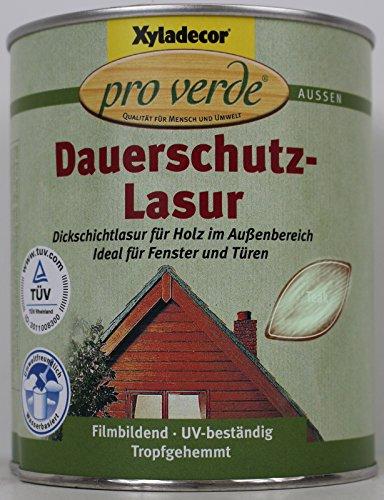 Xyladecor pro verde Dauerschutzlasur, Dickschichtlasur f. Fenster und Türen, Wasserbasis, Nussbaum / 750 ml