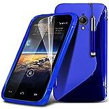(Blau) Vodafone smart 4 Turbo elegante S-line Hydro Wave Gel Skin Case Cover, Aus- und einfahrbarem Touch Screen Pen & Screen Protector von Aventus * *