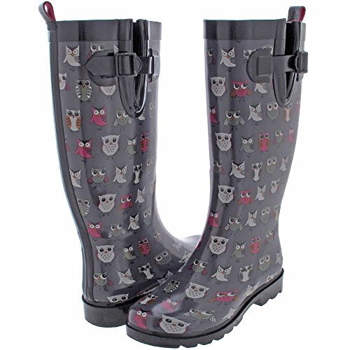 Capelli New York Ladies' Shiny Pop Owls Printed Rain Boot Grey Combo 10 (Rain Boots Printed compare prices)