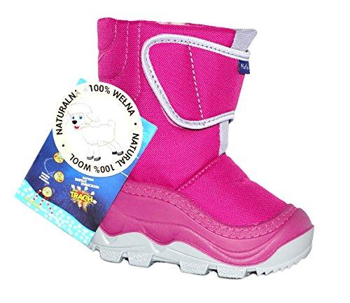 Muflon Renbut Baby Mädchen Schneeschuhe Winterschuhe Snowboots Gummistiefel gefüttert mit Wolle Klettverschluss Pink Grau