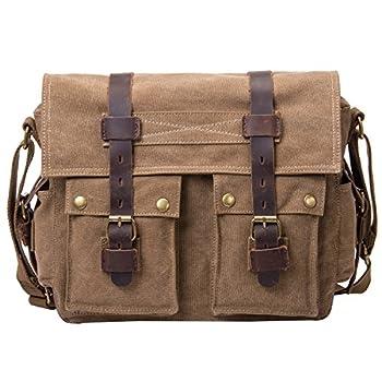 Peacechaos Messenger Bag Leather Canvas Shoulder Bookbag Laptop Bag + DslrSlr Camera Canvas Shoulder Bag