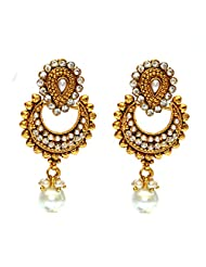 Anvi's Pearls And White Stones Chand Baali With Pearl Droplet