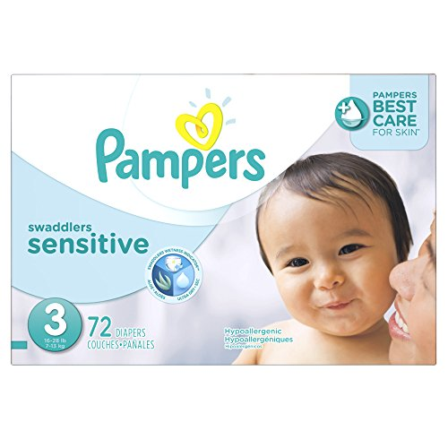 Pampers Swaddlers Sensitive Diapers Size 3 Super Pack 72 Count, 72 Count - 1