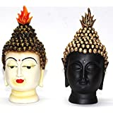 Odishabazaar Golden And Black Buddha Head Set Of 2