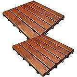 Dalles en bois acacia 30x30cm lot de 11 unités système clipsable pas japonais