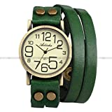 Ailisha Lady Women Green Wrap Leather Strap Bracelet Bangle Analog Quartz Watch WAA391