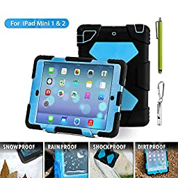 Ipad Mini Case, Aceguarder [New Hot] Outdoor Silicone Products Ipad Case for Ipad Mini . Water proof Shock proof Rain proof Dirt proof Cover Case with Ipad Mini 3,ipad Mini 2, Ipad Mini 1(Gifts Outdoor Carabiner + Whistle + Handwritten Touch Pen)(Black Bl