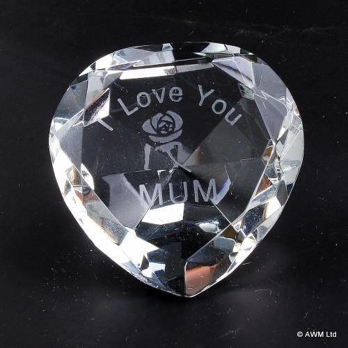 I LOVE YOU MUM Crystal HEART with an Engraved ROSE Ideal Gift for Girlfriend Mum Birthday Mothers Day Christmas