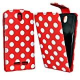 Accessory Master- Red Leather Book Style Flip Cover Case for Htc One SV