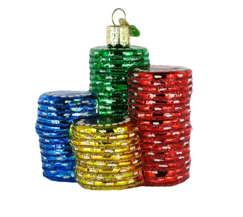 Poker Chips Glass Blown Ornament