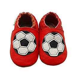 Sayoyo Baby Football Soft Sole Leather Infant Toddler Prewalker Shoes (Red, 12-18 months)
