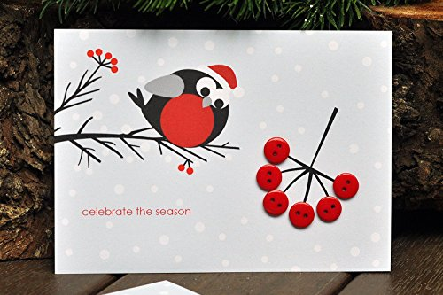 Bullfinch and Rowan - Christmas Card - Card with Buttons - Greeting Card - Handmade Card - Gift - Gift for Christmas
