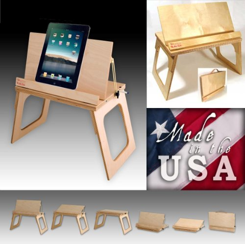 USA Hand Crafted Bare Wood Finish See Web Video at TheBedDesk iPad Lap Stand Bed Desk 21 Plus Uses Laptop Notebook Lap Textbook Bookstand Music Stand Tv Breakfast Tray Art Easel Laidback Craft Table Scrapbook Holder Portable Lectern Manuscript File Docume