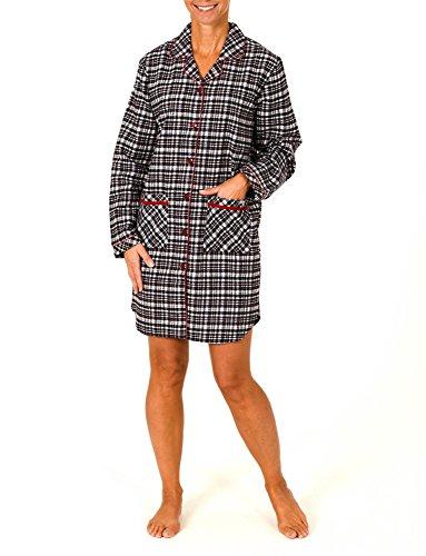 Normann Damen Flanell Nachthemd langarm - auch in Übergrössen - 56279, Größe:44/46;Farbe:schwarz/weiss/rot