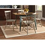 5 Piece Dining Set Vintage Style with Drop Leaf Table and L. Gray Chairs