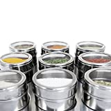Nellam Magnetic Spice Rack with 9 Spice Jars and Bonus Measuring Spoons - Stand and Wall Mount Hole Included - Stainless Steel Containers with Clear Top - Spice Organizer