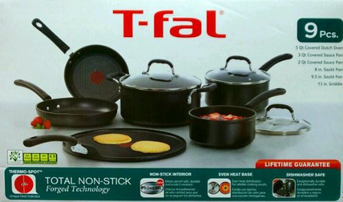 T-fal (9 Piece) Cookware set -Total Non-Stick Forged Technology