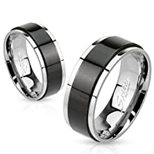 buy Janestore Fashion 316L Stainless Black & Silver 2-Tone Spinning Wedding Band Ring Size 5-14