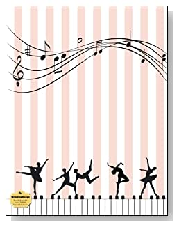 Keyboard Ballet Dancers Notebook - For the dance and music lovers! Pink and white stripes provide a gentle background as silhouettes dance across the keyboard on the cover of this blank and college ruled notebook with blank pages on the left and lined pages on the right.