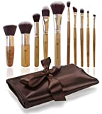 Professional Makeup Brush Set with Premium Synthetic Hair, Best Bamboo Cosmetic Brushes For Eye, Face and Blending Foundation, Includes Travel Case Holder