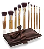 Makeup Brush Set - 10 Pcs Complete Studio Pro Brushes with Bamboo Handle and Synthetic Hair - Compact Travel Size with Pouch Holder Organizer- Affordable Vegan Animal Friendly Kit - Best for Professional Looking Eye and Face Cosmetics Application