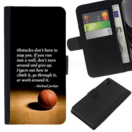 RenCase/a portafoglio Agenda PU Custodia in pelle con porta carte di credito, per Sony Xperia Z2D6502-Jordan Quote Sport