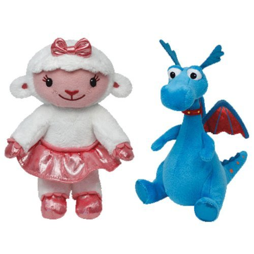 Ty Beanie Babies Doc McStuffins - Dragon Stuffy and Girl Lambie Set of 2 Plush Toys