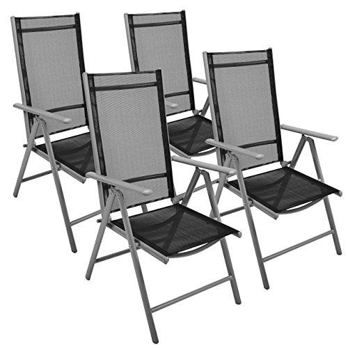 Nexos-4-er-Set-Stuhl-Klappstuhl-Gartenstuhl-Hochlehner-fr-Terrasse-Balkon-Camping-Festival-aus-Aluminium-verstellbar-leicht-stabil-schwarz