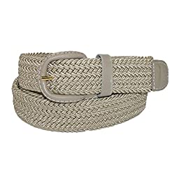 CTM® Mens Elastic Braided Belt with Covered Buckle (Big & Tall Available), X-Large, Khaki