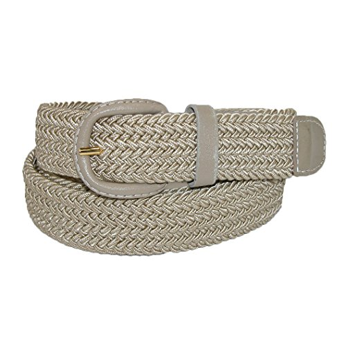 CTM Mens Elastic Covered Buckle Braided Stretch Belt (Big & Tall Available), XXXL, Khaki