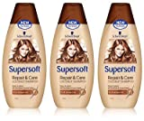 NEW 3X SCHWARZKOPF SUPERSOFT REPAIR & CARE LADIES COCONUT SHAMPOO 400ML DRY HAIR