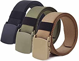 Nidicus Military Plastic Buckle Nylon Canvas Adjustable Strong Waist Web Belt 3Pack