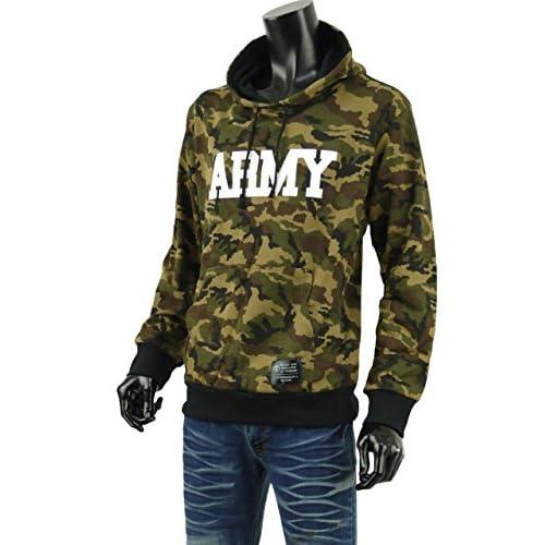 パーカー メンズ プルオーバー カモフラ 迷彩 スウェット ARMY アメカジ パーカ S270910-01 ブラウン L