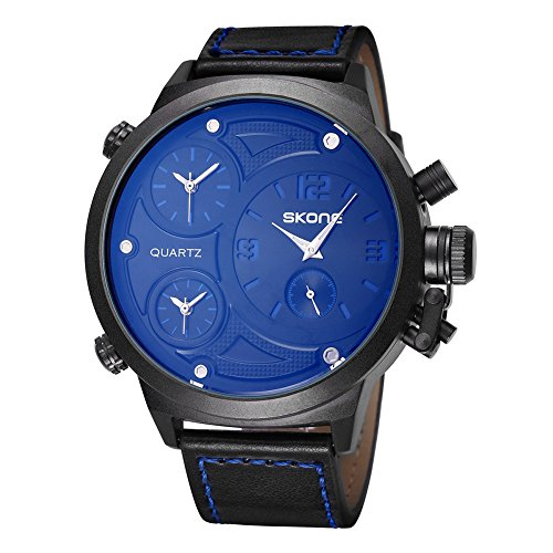 SKONE Big Face Leather Strap Three Function Dials Quartz Mens Watch (Blue)