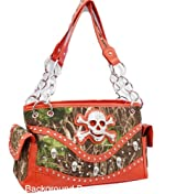 Orange Camouflage Skull Studded Conceal and Carry Purse