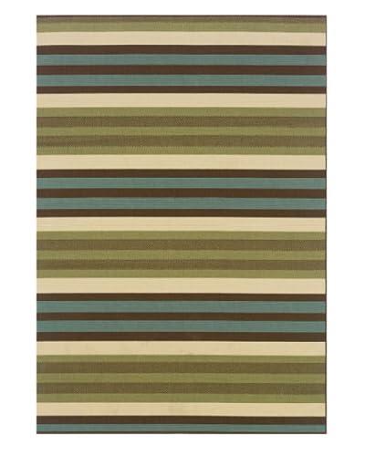 Granville Rugs Monterey Indoor/Outdoor Rug, Green/Blue/Cream/Brown, 3' 7 x 5' 6