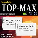 TOP-MAX® EN-EL12 Rechargeable Li-ion Battery for Nikon Coolpix P300 P310 P330 P340 P3000 S31 S70 S610 S620 S630 S640 S800c S1000pj S1100pj S1200pj S6000 S6100 S6150 S6200 S6300 S8000 S8100 S8200 S9050 S9100 S9200 S9300 S9400 S9500 S9600 S9700 S9900 AW100 AW100s AW110 AW110s AW120 AW120s AW130 Digital Camera(Pack of 2)