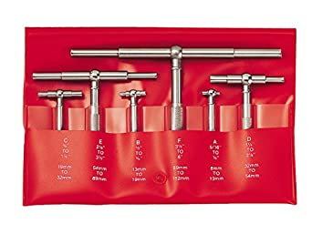 "Starrett S579HZ Self Centering Telescoping Gauge With 2 Telescoping Arms Set, 5/16""- 6"" Range, 2-3/8 - 3-1/4"" Handle Length (6 Pieces)"