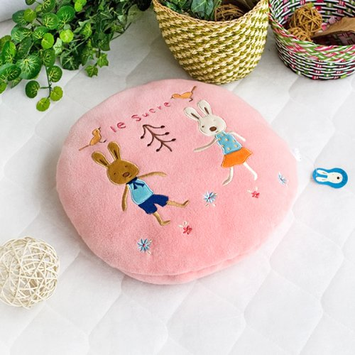 [Sugar Rabbit - Round Pink02] Blanket Pillow Cushion / Travel Pillow Blanket (31.5 by 43.3 inches)