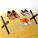silver 2 Tier Shoe RACK/ORGANIZER FOR 10 Pairs Shoe Rack Organiser storage shelfby Payless Shop
