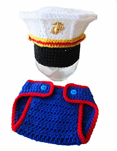 Newborn Baby Handmade Crochet Knitted Marines Outfit Photography Props