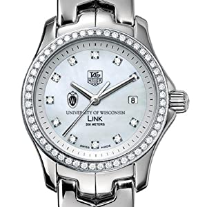 Wisconsin Ladies TAG Heuer Link with Diamond Bezel by TAG Heuer
