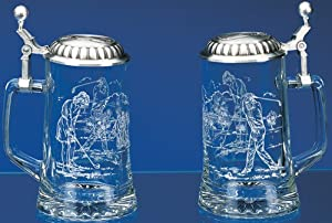 """Golf Glass Stein """"Male Golfer and Female Golfer"""" Etched German Glass Beer Stein w/ Golf Motif, Golf Design Embossed Pewter Lid, Made in Germany by Cornell"""