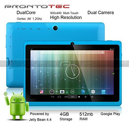 Prontotec Axius New Version 7 Updated Android 4.4 Tablet Pc, Cortex A8 Dual Core Processor 1.2GHz, 512MB / 4GB, Dual Camera, G-sensor,Google Play Pre-loaded (Blue)