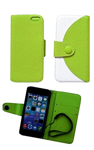 Mylife (Tm) Bright Neon Green And White {Modern Design} Faux Leather (Card, Cash And Id Holder + Magnetic Closing + Hand Strap) Slim Wallet For The Iphone 5C Smartphone By Apple (External Textured Synthetic Leather With Magnetic Clip + Internal Secure Sna