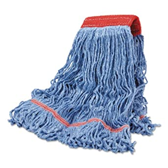 Boardwalk LM30311L Cotton Mop Heads, Cotton/Synthetic Blend, Large, Looped End, Wideband, Blue (Case of 12)