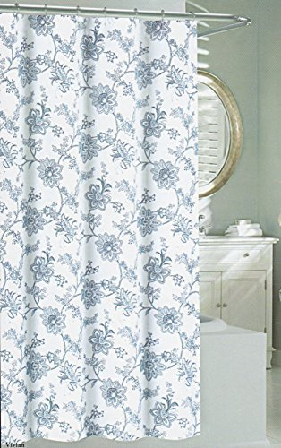 Nicole Miller Fabric Shower Curtain 72 Inch By 72 Inch Floral Shower Curtain  Jacobean Flowers Blue White By Nicole Miller