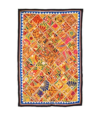 Uptown Down One-of-a-Kind Patchwork Wall Hanging/Textile Panel, Yellow