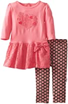 Vitamins Baby Baby-Girls Infant Folkloric Heart Two Piece Dress Legging Set, Pink, 18 Months