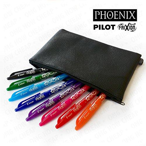 pilot-frixion-stylo-roller-effacable-avec-set-phoenix-aspect-cuir-etui-a-crayons
